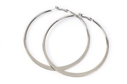 Large ring shaped earrings isolated on white background