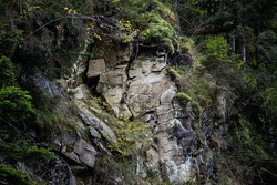 Large rocks in the mountains with texture and moss in the humid forest