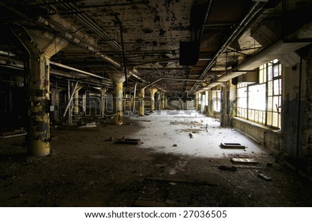 Large Room in an Abandoned Industrial Building