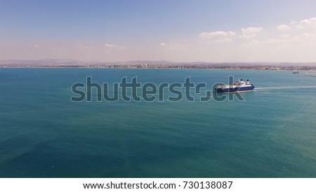 Large RoRo (Roll on/off) vessel cruising the Mediterranean sea.B Stock foto ©
