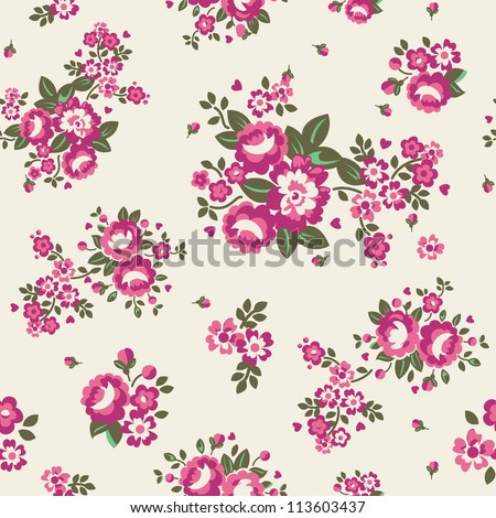 Large Roses Floral Seamless Pattern - Cream Vector illustration of seamless, repeating rose pattern.