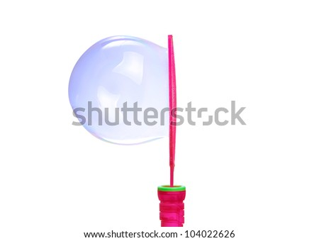 Large round soap bubble on white background