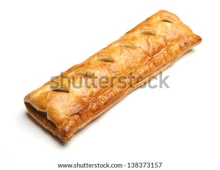 Large sausage roll on white background