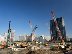 Large scale construction site in the coastal area