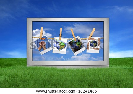 Large Screen Television Isolated Outdoors With Global Issue Concepts Hanging on instant photo Film Blanks