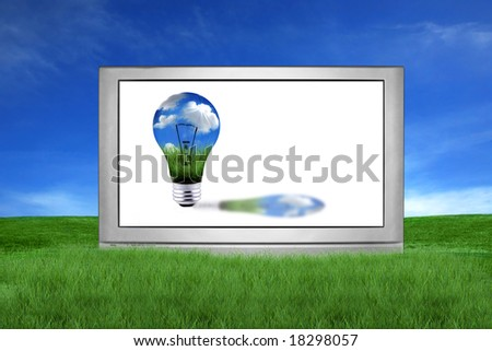 Large Screen Television With Green Global Energy Concept