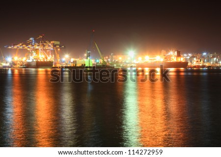 Large  seaport at the night.  Novorossiysk, Russia. - stock photo