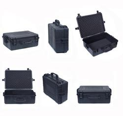 large set of black safety briefcase isolated on white background,