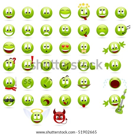 Large set of cool smileys. Isolated on a white.
