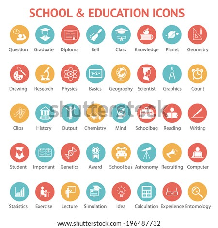Large set of 40 different colorful school   college  university and education icons on round web buttons each labeled below to show what it represents illustration