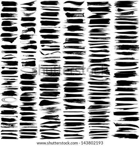 Large set of 180 different grunge brush strokes. For vector version, see my portfolio.