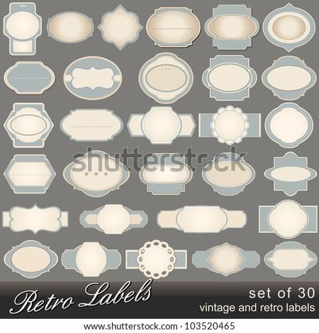 Large set of old, blank, vintage labels illustrations