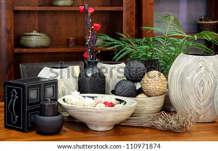Large set of rattan home decor ornaments