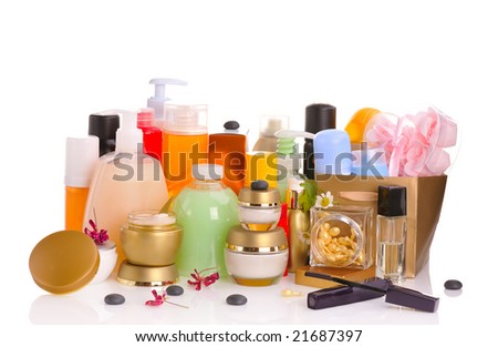large set of various cosmetics isolated on white