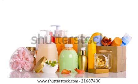 large set of various cosmetics isolated on white - stock photo