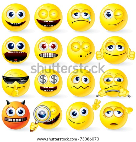 Large set of Yellow Cartoon Smileys with various emotions and gestures - detailed isolated emoticons ( vector eps version  and similar please see at my gallery )