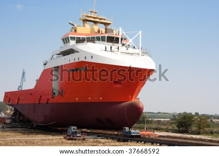 Large ship before launching ceremony