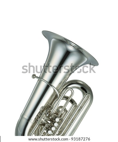 Large silver brass tuba on white background