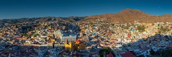 Large size aerial panorama of Guanajuato city at sunset, Guanajuato state, Mexico.