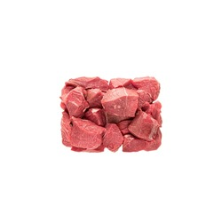 large sliced cubes of red meat beef or pork, a portion of igredient for cooking or diain packaging. meat pieces are laid in a rectangular block, ready-packaged portion, isolate on a white background.
