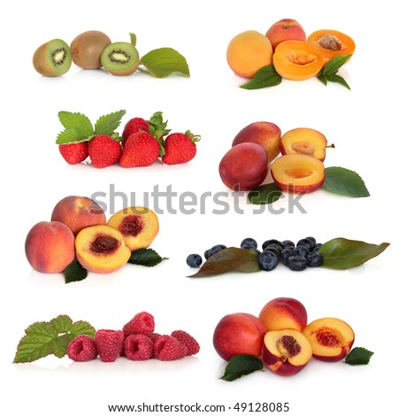 Large soft fruit collection high in antioxidants, isolated over white background.