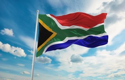 Large South Africa flag waving in the wind