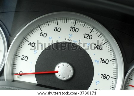 Large Speedometer On A Truck Showing Kilometers Per Hour