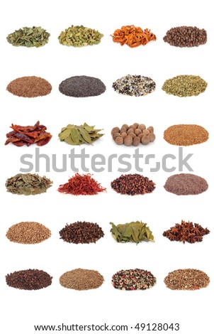 Large spice and herb leaf selection isolated over white background.