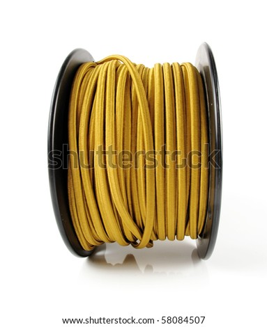 Large spool of yellow wiring primarily used in vintage restoration