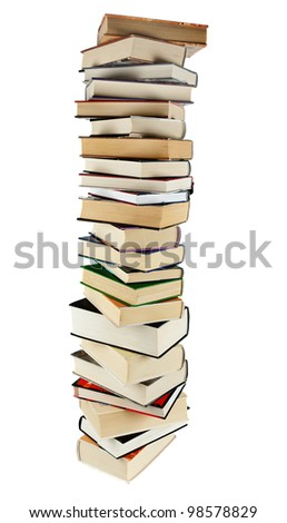 Large stack of books isolated on the white