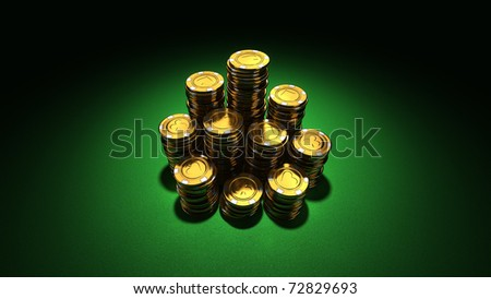 Large stacks of gold poker chips, tokens on green felt (3D render in 16:9)