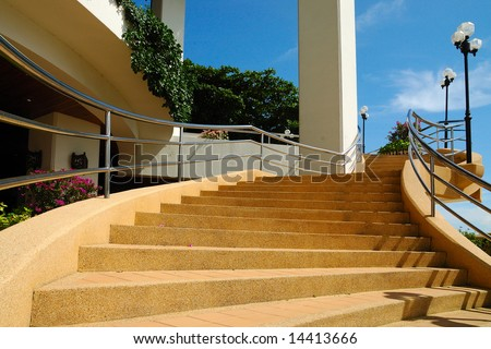 Large stairway with hand-rail and lampposts #14413666
