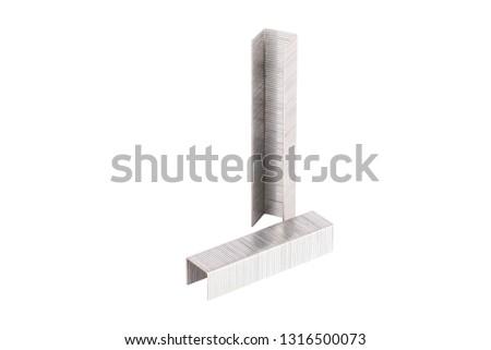 Large staples for stapler, on white background, isolated