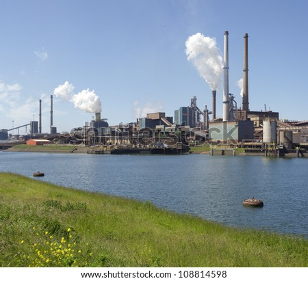 large steel factory in IJmuiden, Netherlands