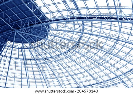 Large steel structure truss, closeup of photo #204578143