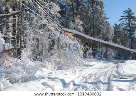 Large storm damage caused by a winter blizzard that went through Massachusetts