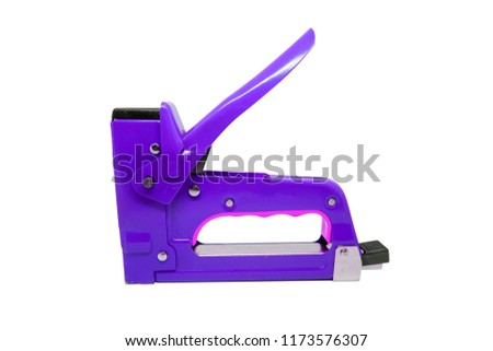Large tacker or metal stapler for repair work isolated on white background with clipping path.