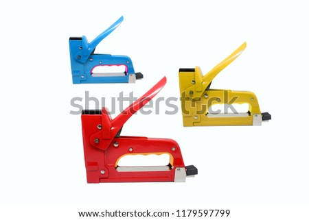 Large tacker or metal stapler for repair work on the house isolated on white background, clipping path.