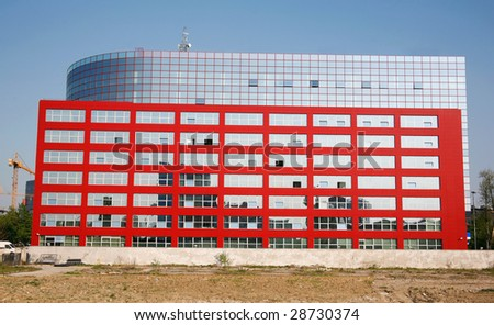 Large tall glass building in Zagreb new town - stock photo