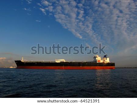 large tanker ship oil transport in los angeles harbor