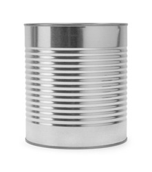 Large Tin Can Side View Isolated on White Background.