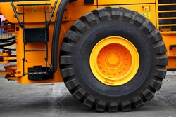 large tire on earth moving tractor