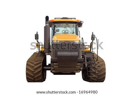 Large tractor.  Front view,  isolated on white