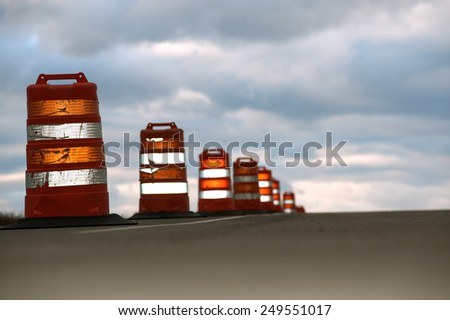 Large traffic cones on highway #249551017