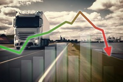 Large truck in front of a container port, with graphics symbolizing the decline in exports.