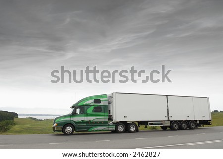 large truck, lorry in early morning light