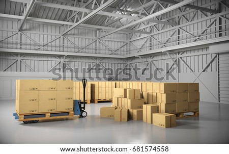 large trucking warehouse with...