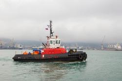 Large Tugboat on Calm Green Bay