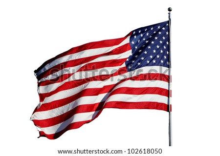 "Large U.S. Flag ""Old Glory"" blowing in a strong wind - isolated on white background"