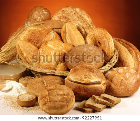 large variety of bread